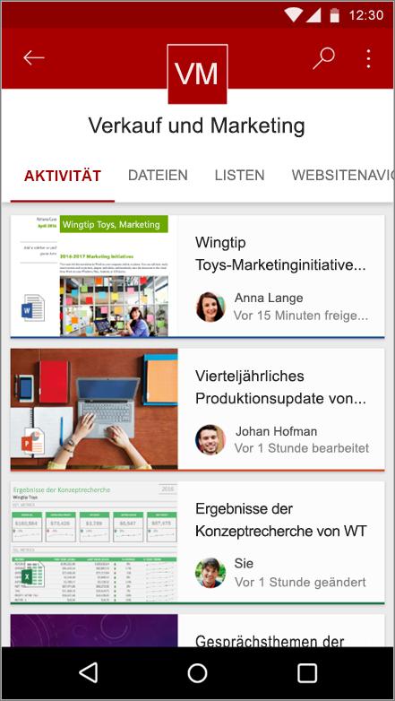 Screenshot der mobilen Android-App mit Websiteaktivitäten, Dateien, Listen und Navigationsmöglichkeiten