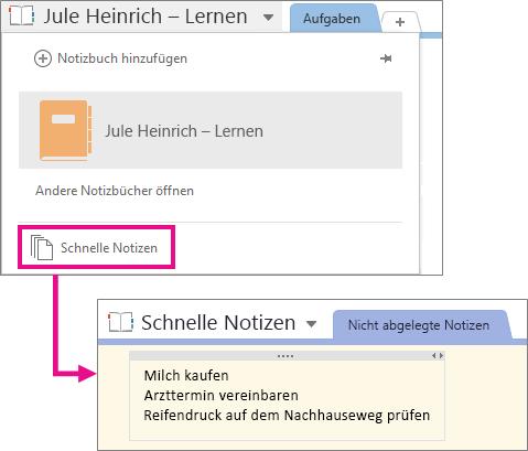 """Der Speicherort des Notizbuchs """"Schnelle Notizen"""""""