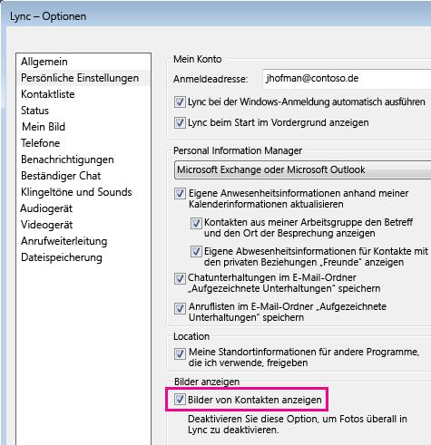 """Screenshot des Dialogfelds """"Lync – Optionen"""" mit ausgewähltem Eintrag """"Persönliche Einstellungen"""" und aktivierter Option """"Bilder von Kontakten anzeigen"""""""