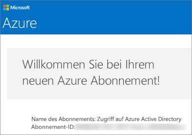 So sieht die E-Mail vom Team für Azure-Konten aus.