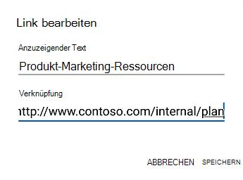 Dialogfeld ' Outlook für Android-Hyperlinktext '