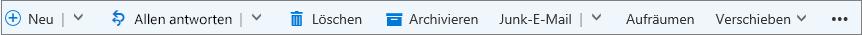 Die Outlook.com-Befehlsleiste, die nach der Auswahl einer Nachricht angezeigt wird