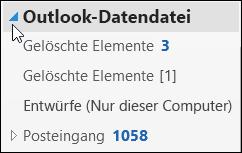 Um die Outlook-Datendatei zu öffnen, wählen Sie den Pfeil daneben aus.