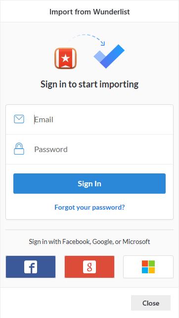 Aufforderung zur Anmeldung beim Importieren mit der Option zum Anmelden mit e-Mail und Kennwort oder mit Facebook, Google oder Microsoft
