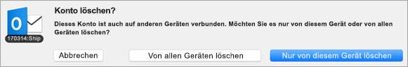 "Screenshot des Dialogfelds ""Konto löschen"""