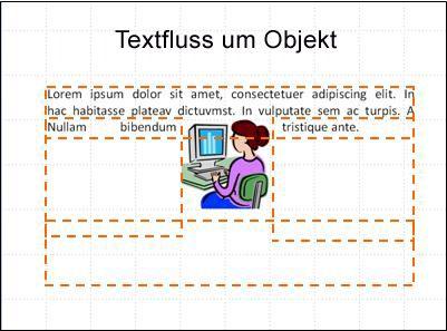 Folie mit eingefügtem Objekt, sichtbaren Textfeldern und etwas Text