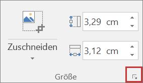 """Screenshot der Schaltfläche """"Größe und Position"""" auf der Registerkarte """"Format"""""""