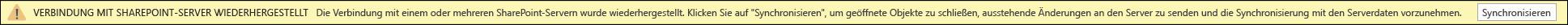 Klicken Sie auf synchronisieren, um die Verbindung mit dem SharePoint-Server wiederherstellen.