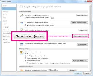 Befehl 'Briefpapier und Schriftarten' im Dialogfeld 'Outlook-Optionen'