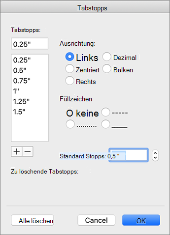 Dialogfeld ' Mac-Registerkarte '