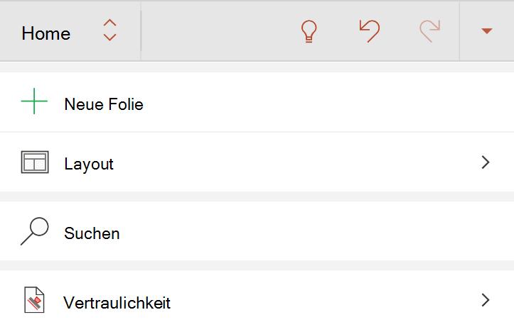 """Menü """"Empfindlichkeit"""" auf der Registerkarte """"Start"""" im Menüband auf Android"""