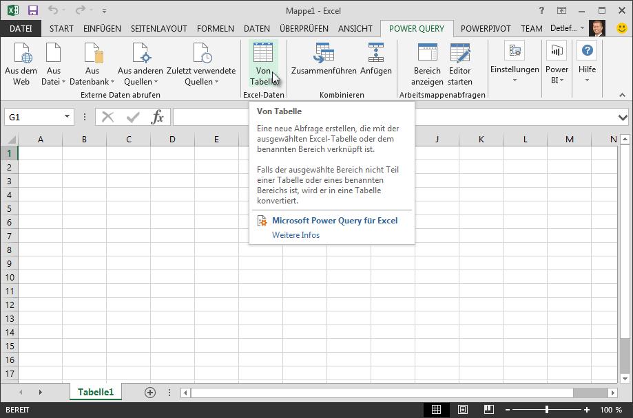 Herstellen einer Verbindung mit einer Excel-Datentabelle