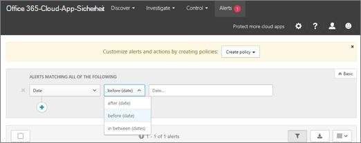 Verwenden Sie den Datumsfilter, um Informationen vor, hinter oder zwischen den Datumswerten anzuzeigen.