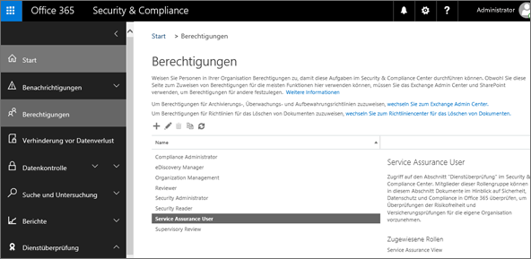 "Screenshot der Seite ""Berechtigungen"" im Security & Compliance Center, auf der ""Dienstüberprüfungsbenutzer"" ausgewählt ist."