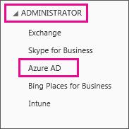 """Zeigt das Office365-Menü """"Administrator"""". Wählen Sie die dritte Option, nämlich """"Azure AD"""", aus."""