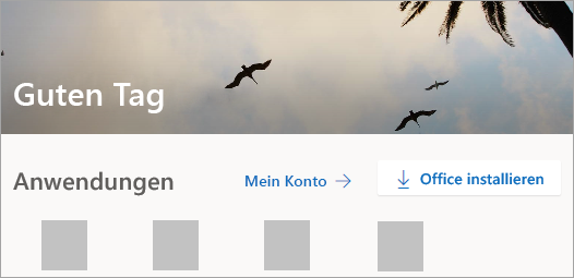 Screenshot der Office.com-Startseite nach dem Anmelden