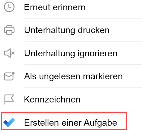 Zeigt E-Mail-Optionen