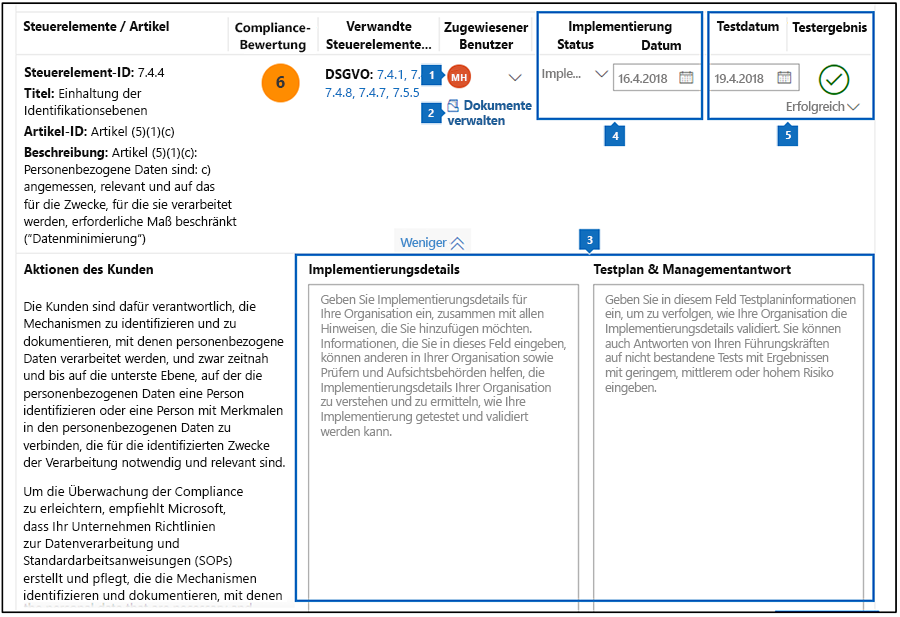 Compliance-Manager-Bewertung – Workflow mit Popups