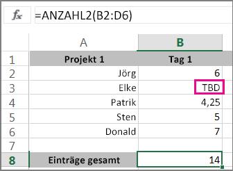 Funktion ANZAHL2 mit einer Bereichsauswahl