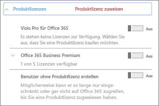 """Abschnitt """"Produktlizenzen"""" mit nur Office 365 Business Premium"""