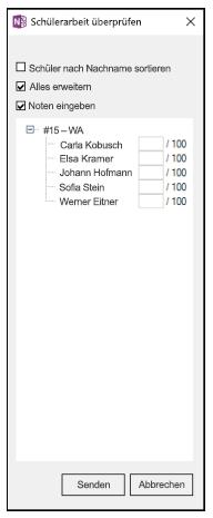 """Bereich """"Aufgaben der Schüler überprüfen"""" mit einer Liste der Namen der Kursteilnehmer und leeren Feldern für Prozentangaben."""