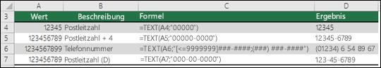 Sonderformate für die TEXT-Funktion