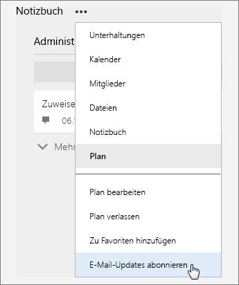 """Screenshot der Liste """"Mehr"""" mit aktivem """"E-Mail-Updates abonnieren"""""""