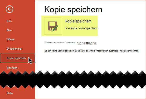 Der Befehl Kopie speichern Speichert die Datei online auf OneDrive for Business oder SharePoint