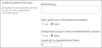 MehrZeilige Spalten Text für Dokumentbibliotheken