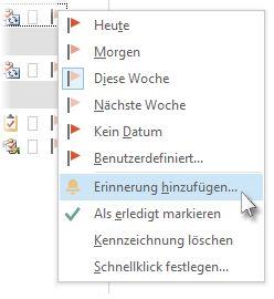Befehl 'Erinnerung hinzufügen' im Kontextmenü einer Kennzeichnung in 'Aufgaben'