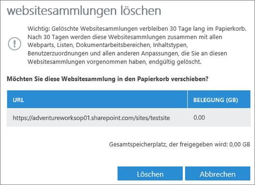 "Dialogfeld ""Websitesammlung löschen"""