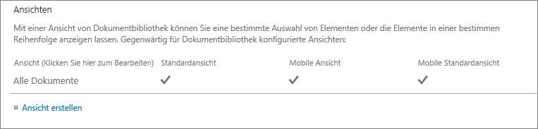 """Abschnitt für Listenansichten in """"Listeneinstellungen"""""""