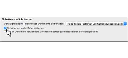 """Dialogfeld """"Schriftart einbetten"""", Kontrollkästchen """"Schriftarten in die Datei einbetten"""" aktiviert"""