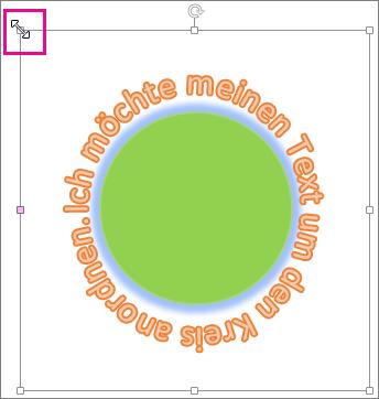 Ziehpunkt an einem WordArt-Objekt, der zur Größenänderung verwendet wird