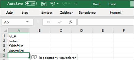"Zeigt den Datentyp ""In Geografie konvertieren"""