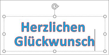 WordArt-Objekt mit angewendeter Textfüllfarbe und Konturfarbe