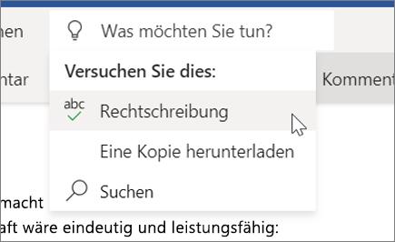 """""""Sie wünschen"""" in Word Online"""