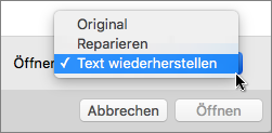 """Klicken Sie auf """"Öffnen > Text wiederherstellen"""", um ein beschädigtes Dokument zu öffnen und einen Wiederherstellungsversuch zu unternehmenn."""