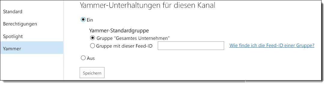 Yammer-Einstellungen für Office 365 Video