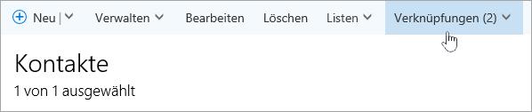 """Screenshot der Schaltfläche """"Verknüpfungen"""" auf der Seite """"Personen"""""""