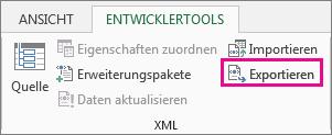 'Exportieren' auf der Registerkarte 'Entwicklertools'