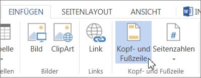 """Schaltfläche """"Kopf- und Fußzeile"""""""