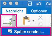 """Wählen Sie den Pfeil neben der Schaltfläche """"Senden"""" aus, um das Senden Ihrer E-Mail zu verzögern."""