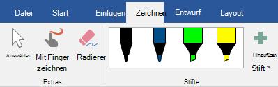 """Stifte und Textmarker auf der Registerkarte """"zeichnen"""" in Office 365"""