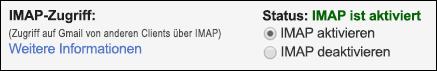Aktivieren Sie IMAP in Gmail.