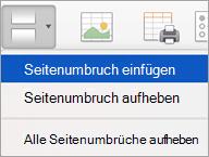 """Optionen im Menü """"Umbrüche"""""""