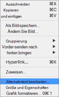 """Excel 365: Menü """"Alternativtext Bearbeiten"""" für Bilder"""