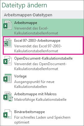 Format 'Excel 97-2003-Arbeitsmappe'