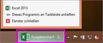 Taskleiste mit dem Excel-Arbeitsmappensymbol