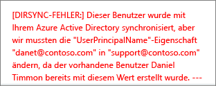 Details zu einem Verzeichnissynchronisierungsfehler eines Benutzers